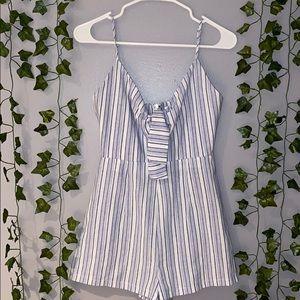 Woman's By The Way. Blue/White Stripe Tie Romper S